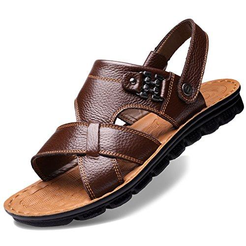 Morbida 47 Da Brown2 Casual Pantofole Plus Sandali In Uomo Open Base Da Size Spiaggia Pelle Vera Estate 37 Sandali Toe wCqfXnUOxf