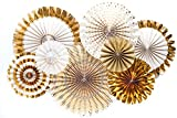 Monkey Home Glitter and Gold Party Paper Fans Rosette,Set of 8,Great Quality. (Gold)