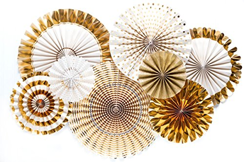 Monkey Home Glitter and Gold Party Paper Fans Rosette,Set of 8,Great Quality. (Gold) by Monkey Home