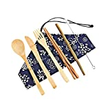Ktyssp Portable Bamboo Cutlery Travel Eco-Friendly Fork Spoon Set Include Reusable Fork Spoon Set (E)