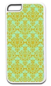 01-Floral Damask Pattern-Gold/Green Case for the APPLE IPHONE 5c ONLY!!! -Hard White Plastic Outer Case with Tough Black Rubber Lining