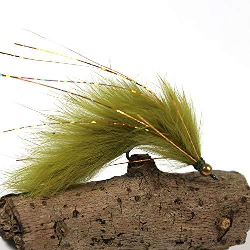 (Fishing Lures - 6PCS 6# Olive Copper Beadhead Zonker Fly Fishing Streamers)