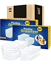 KICHLY Pantry Organizer - Include 8 Organizer 4 Large & 4 Small Drawers Stackable Fridge Organizers for Freezer, Kitchen, Countertops, Cabinets