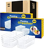 KICHLY Pantry Organizer - Include 8 Organizer 4 Large & 4 Small Drawers Stackable Fridge Organizers for Fr