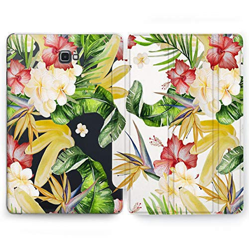Wonder Wild Hawaiian Plants Samsung Galaxy Tab S4 S2 S3 A E Smart Stand Case 2015 2016 2017 2018 Tablet Cover 8 9.6 9.7 10 10.1 10.5 Inch Clear Design Tropical Floral White Yellow Red Colorful -