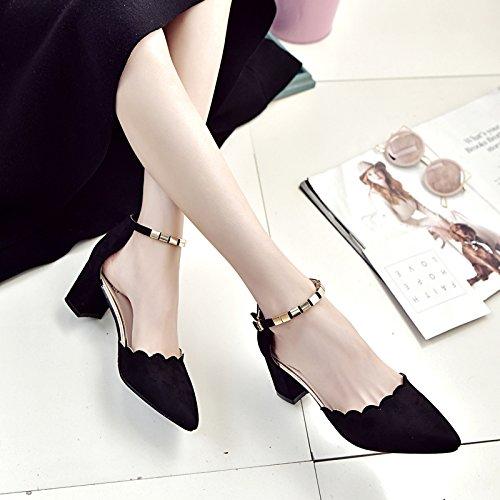 Scoop Femme Et Couleur Creux Chaussures unie Chaussures Petites SHOESHAOGE Astuce Un Boucle Mot pBCwCR1xq
