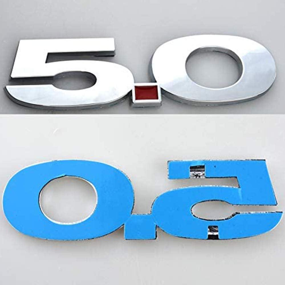 L/&U 2pcs 5.0 Emblema 3D de la Insignia de la Etiqueta Etiquetas de Repuesto para Ford Mustang,Plata par