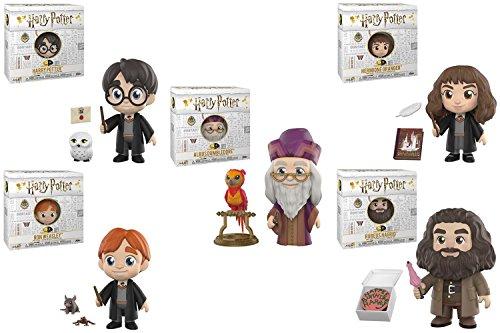 H.P. Harry Potter, Albus Dumbledore, Ron Weasley, Hermione Granger, and Rubeus Hagrid 5 Star Vinyl Figure set of 5.