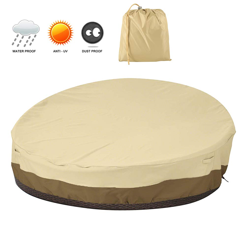 willstar Patio Round Daybed Cover 90 Inches Outdoor Canopy Daybed Sofa Cover 420D Waterproof UV Resistant Out Door Furniture Cover by willstar