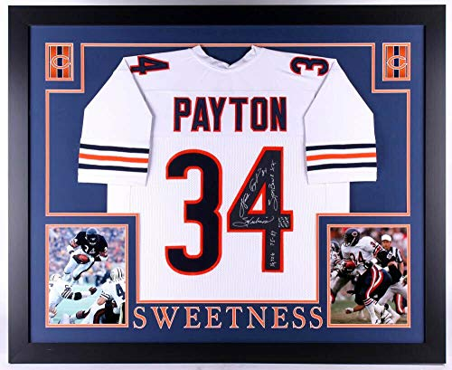 (Walter Payton Autographed Signed Memorabilia Bears 35X43 Framed Jersey With 4 Inscriptions Payton Coa - Certified Authentic)