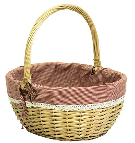 east2eden Honey Willow Wicker Traditional Shopping Easter Basket with Gingham & Lace Liner in Choice of Sizes (Small) by east2eden