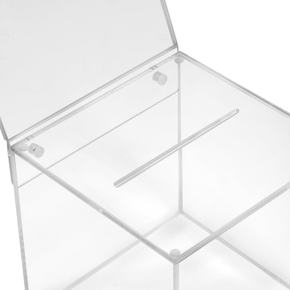 Zeigis/®//scatola per donazioni//scatola gioco di profitto//trasparente//acrilico//Plexiglas/® Scatola in vetro acrilico in 150 x 150 x 150 mm con targhetta 150 x 150 mm