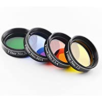 Solomark 1.25 Inches 4pcs Color Filter Set for Telescope Eyepiece - No.12 Yellow, No.21 Red, No.80A Blue and No.56 Green