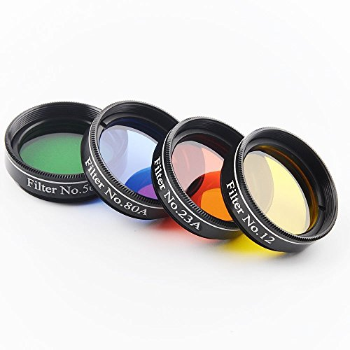 Solomark 1.25 Inch 4pcs Color Filter Set for Telescope Eyepiece - No.12 Yellow, No.23 Red, No.80A Blue and No.56 Green