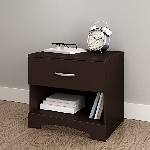 South Shore Step One 1-Drawer Nightstand, Chocolate with Matte Nickel Handles