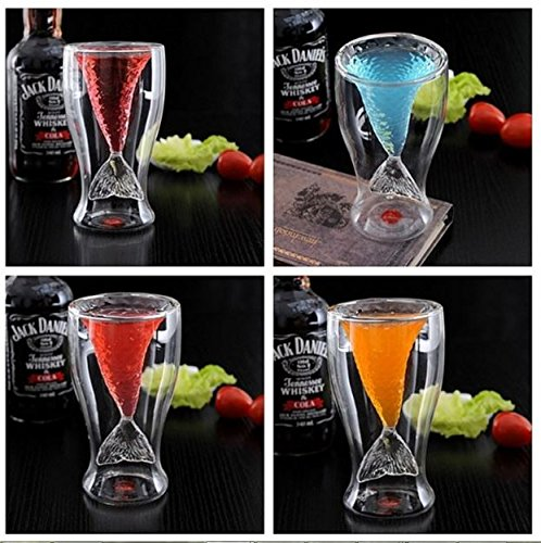 Creative Design Double-Layer Transparent Mermaid 2 Drinking Glass Cups (1)