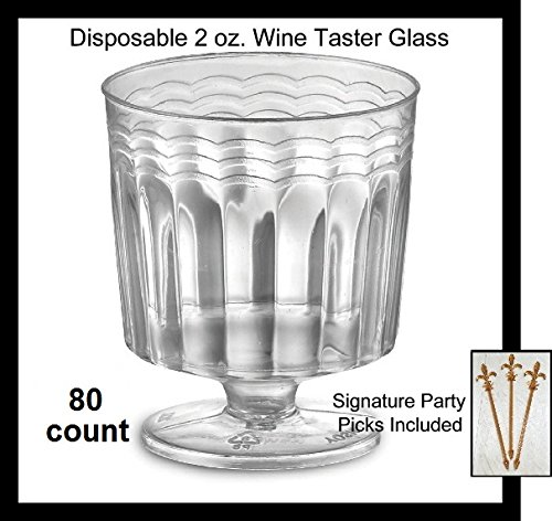 80 Count Disposable Mini Wine Glass 2 oz Plastic Clear Heavyweight 1-Piece for Sampling Tasting - Crystal Ravenscroft 4