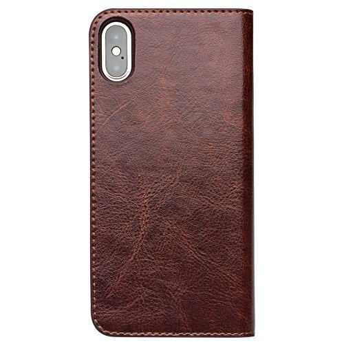 iPhone X Genuine Leather Case, ProCase Vintage Wallet Folding Flip Case Multiple Card Slots Protective Cover for Apple iPhone X / iPhone 10 (2017 Release) - Dark Brown