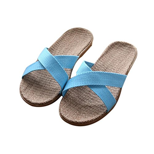 Home Slippers and Floor Home Indoor Proof Flax women Slippers Linen Beach Sweat Odor Men Women Summer Slippers Suction Couples blue TELLW Slippers wzPBx