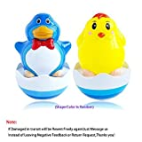Popular Baby Kids Shower Toys Cute Animals Bathtub Bath Toy Tumbler Penguin or Chicken Daruma Puzzle Children Kids Early Educational Tumbler,Great Birthday Gift Present(1pc,Random Color&Shape)