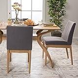 Katherine Mid Century Modern Dark Grey Fabric/ Oak Finish Dining Chair (Set of 2)