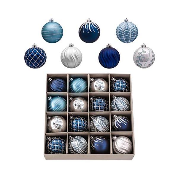 Valery Madelyn Palle di Natale 16 Pezzi 8cm Palle di Natale, Winter Wishes Argento e Blu Infrangibile Palla di Natale Ornamenti Decorazione per la Decorazione Dell'Albero di Natale 1 spesavip