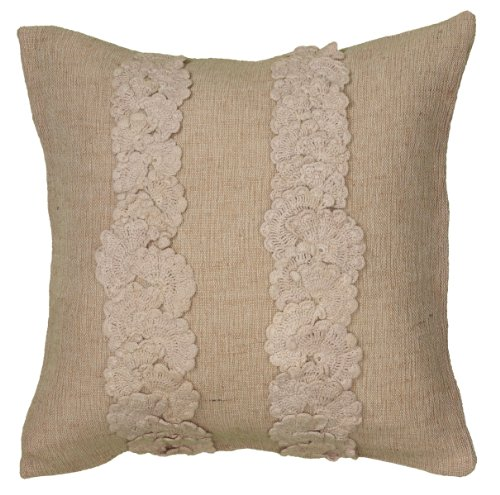 Rizzy Home T06254 Applique of Crochet Cotton Decorative Pillow, 18 by 18-Inch, Natural (Couch Pillows For Crochet)