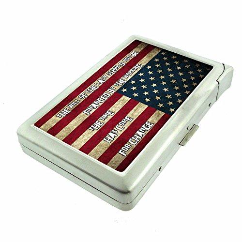 Vintage American Flag USA D14 Cigarette Case Lighter Smoking King Size Cigarettes Silver Metal Wallet 4