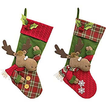 set of 2 cheerful moose 20 inch fabric christmas stockings - Moose Christmas Stocking
