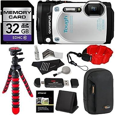 Olympus TG-870 Tough Waterproof Digital Camera (White) + 32GB Class 10 + Memory Card Reader + 12  Tripod + Lowepro Camera Case + Polaroid Floating Foam Strap + Polaroid Cleaning Kit + Accessory Bundle