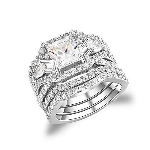 UJULY Womens 925 Solid Sterling Silver Cubic Zirconia Bridal Princess Cut Wedding Band Engagement Ring Sets (White, 8)