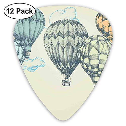 Guitar Picks 12-Pack,Hot Air Balloons In Soft Tone Fly In Sky Lighter Than Air High Tourism Artful -