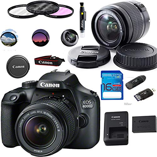 Canon EOS 4000D / T100 Digital Camera with EF-S 18-55MM F/3.5-5.6 III Lens + Basic Accessories Bundle from Deal-Expo