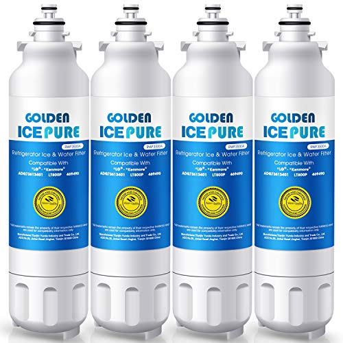 GOLDEN ICEPURE Refrigerator Water Filter,Compatible with LG LT800P,Kenmore 9490,ADQ73613401,LSXS26326S,LMXC23746S,WF-LT800P,469490,LMXC23746D,ADQ73613402,46-9490,LSXS26366S(Pack of 4) (Pur Water Filter For Kenmore Elite Refrigerator)
