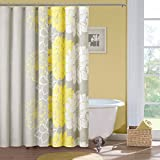 Madison Park Lola Cotton Shower Curtain, Gray/Yellow