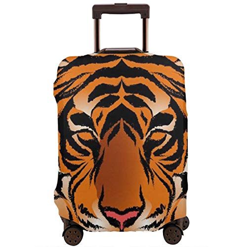 Travel Luggage Cover, High Elasticity Zipper Closure Luggage Suitcase Protector, Anti-Scratch Luggage Case bag - Fits 18-28 Inch Luggage (Striped Bengal Tiger King) -