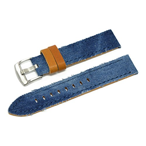 CASSIS NAPA Denim and Horween Leather Watch Strap 20mm Light Blue with Tool U1030600068020