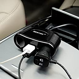 BESTEK 2-Socket Cigarette Lighter Power Adapter DC Outlet Splitter 3.1A Dual USB Car Charger for iPhone6s/6/6 Plus,iPad, Samsung Galaxy S6/S6 Edge and More