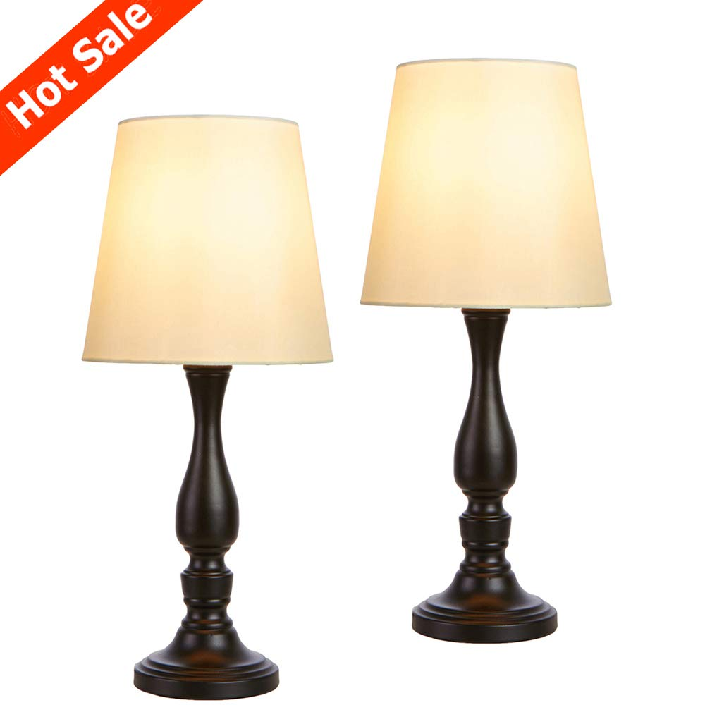 POPILION Set of 2 Black Metal Base Retro Bedside Desk Lamps,Vintage Table Lamps with White TC Fabric Shade,Night Light for Bedroom Living Room
