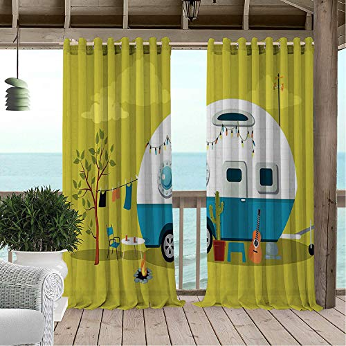 Linhomedecor Gazebo Waterproof Curtains Camping Parked Trailer Guitar Cactus Laundry and Fire Pit Road Trip Yellow Green and Multicolor doorways Grommets Backdrop Curtain 96 by 84 inch
