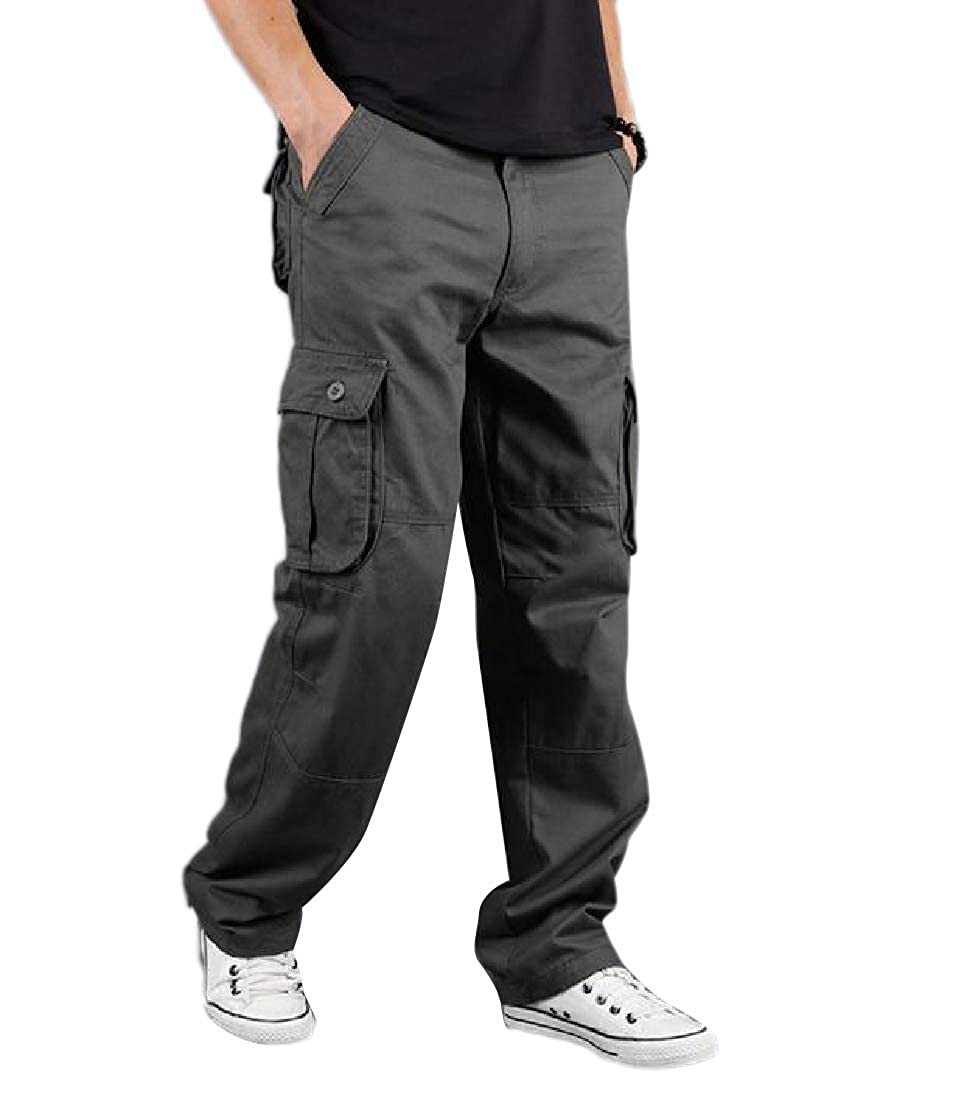 YUNY Mens Oversized Relaxed-Fit Middle Waist Cotton Tactical Combat Pants Green 31
