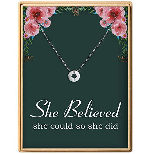 Sterling Silver Large Compass - Back to School Gift S925 Sterling Silver Dainty Compass Friendship Necklace For Women (Brass she believed she could so she did)