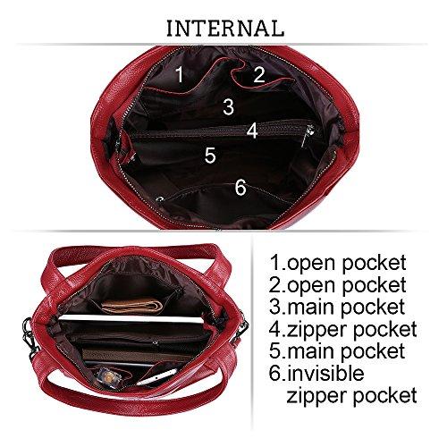 Tote Shopping Lightweight Cowhide Bonzer Classic Black Soft Fashion S Leather Crossbody Genuine Shoulder Wine zone Women's Bag Ladies' Purse Handbag tCwWwgx7q0