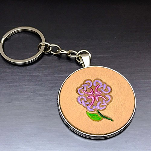 [Hand-Painted Lilac Celtic Flower Embossed Leather Keychain] (Camper Gothic Costumes)