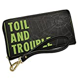 Wallet Clutch Toil and Trouble Halloween Creepy Green Spider Web with Removable Wristlet Strap Neonblond