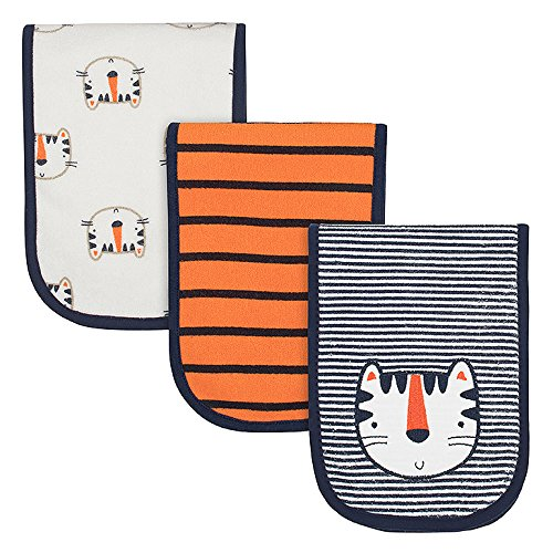 Gerber Baby Boys' 3-Pack Terry Burp Cloth, Happy Tiger, 18
