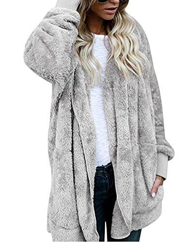 ASSKDAN Women's Fuzzy Velvet Open Front Loose Fitting Long Jacket Coat with Hood (L, Grey)