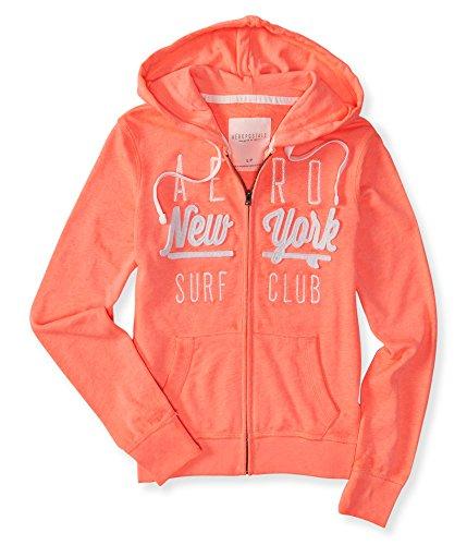 Aeropostale Women's Aero Surf Club Full-Zip Hoodie S Dayglow Coral Neon