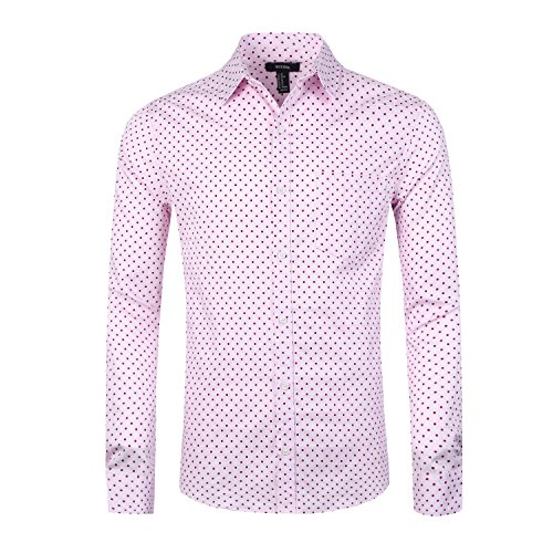 NUTEXROL Men's Casual Cotton Polka Dots Long Sleeve Dress Shirts(Pink,XL) (Brown Pink Dots)