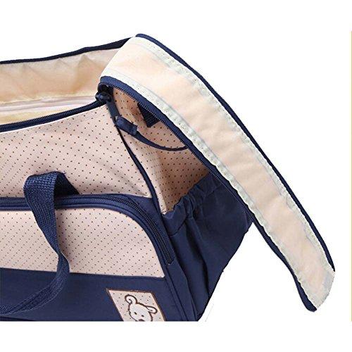 Win8Fong 5-in-1 oso de peluche para el hombro y cambiador para pañales resistente tiene un diseño de bolsa aislante para diseño de bebé pañal para Mummy bolsas de Azul